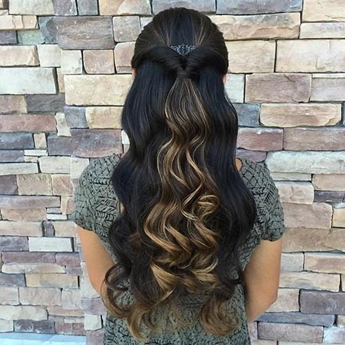 15 half up looped through ponytail