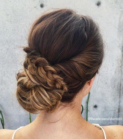 15 low bun bridal updo with a braid