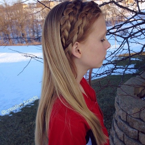 15 two braids loose hairstyle for girls
