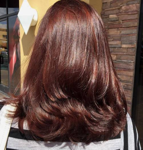 16 layered mahogany brown hairstyle