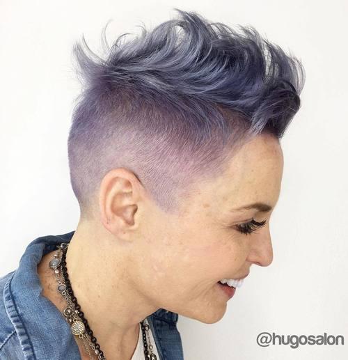 16 pastel purple Mohawk hairstyle