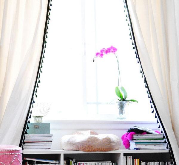 17 Dress up White IKEA Curtain with Tassel Fringe