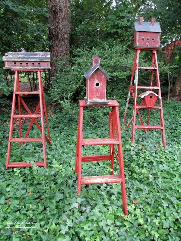 17 Repurpose Ladders into Birdhouse Stands