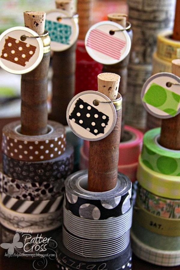 17 Vintage Wooden Spools Bobbins for Wash Tape Storage