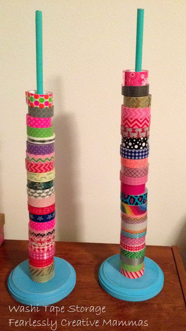 18 Clever Washi Tape Storage Solution with Plastic Baggie and a Piece of Wood
