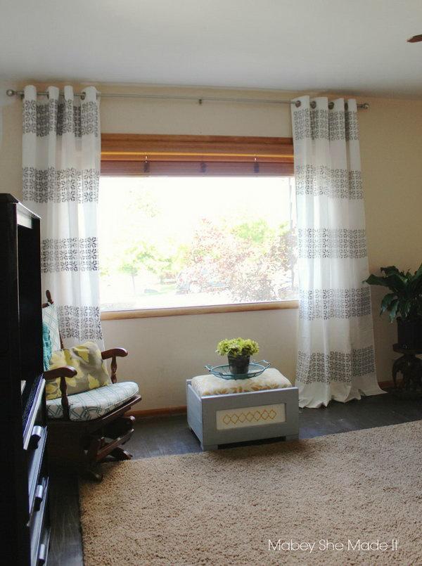 18 DIY Stenciled Curtains