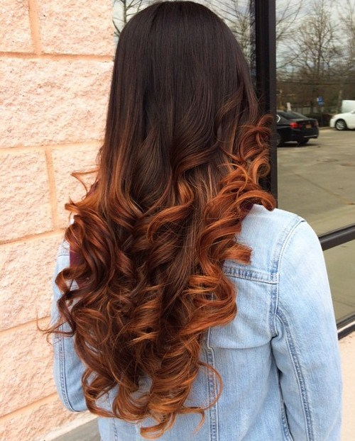 19 brown hair with copper balayage