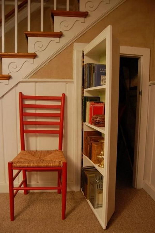 2 Cleverly-incorporated Secret Bookcase Door under the Staircase