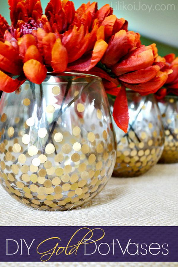 2 DIY Gold Dot Vases for Displaying Fall Flowers