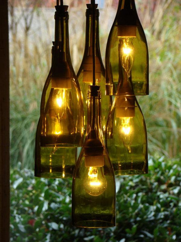 2 Recycled Wine Bottle Chandelier 2