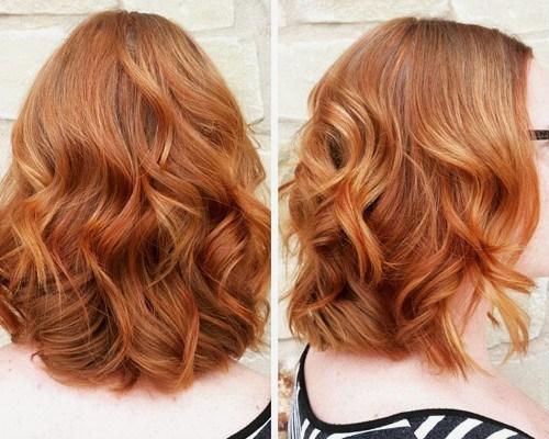 2 light copper wavy medium hairstyle