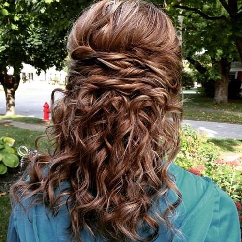 2 medium curly half updo for homecoming