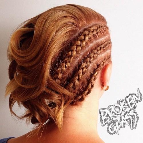 2 short asymmetrical braided hairstyle