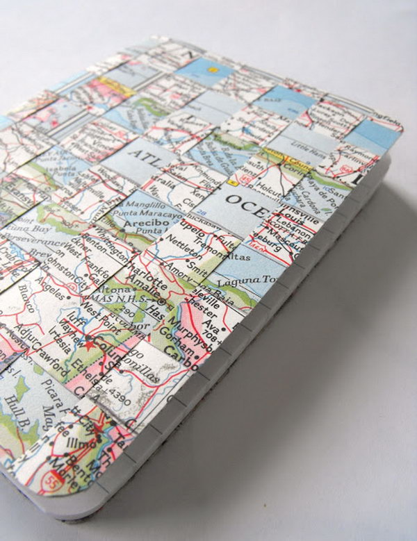 20 Vintage Maps and Woven Notebook Cover