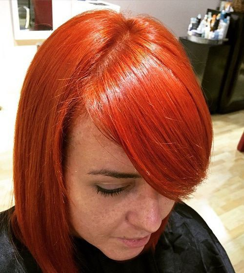 20 bright red bob with bangs