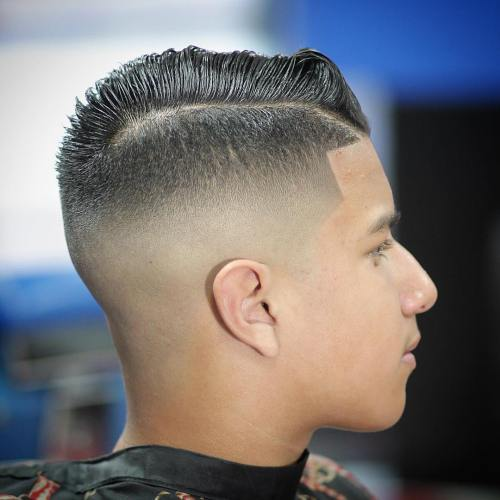 20 high fade with side part for guys