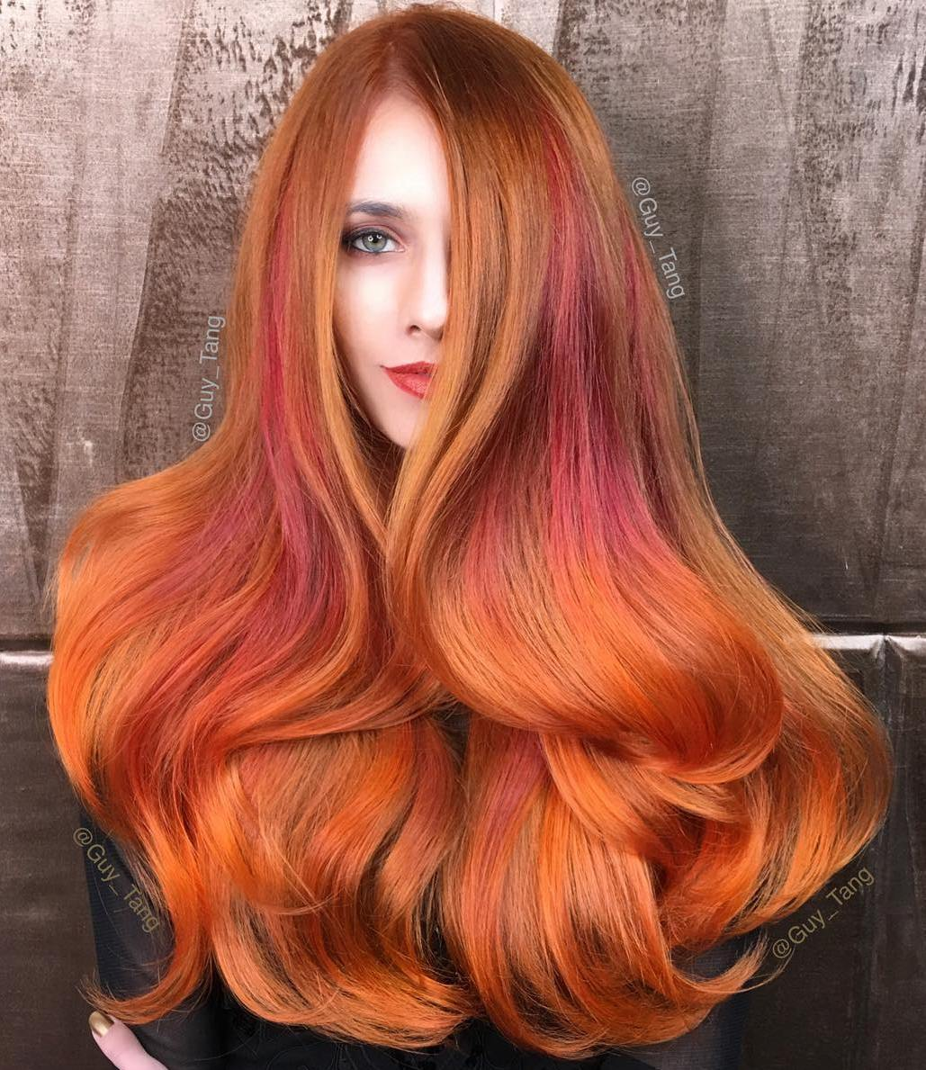 20 long copper hair with orange highlights