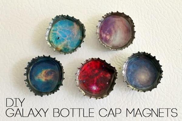 21 DIY Galaxy Bottle Cap Magnets