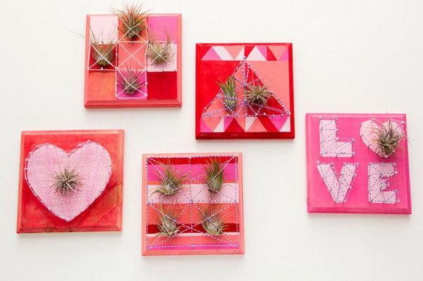 21 Valentine Air Plant String Art