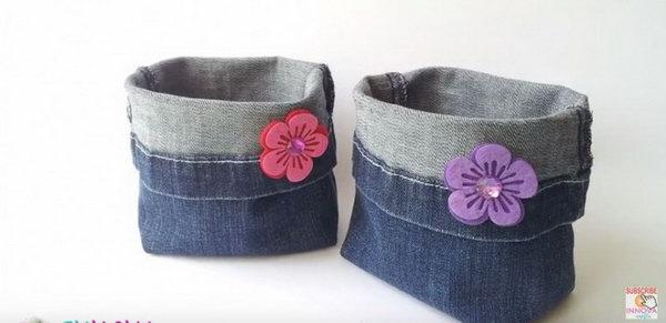22 DIY Denim Buckets from Jeans