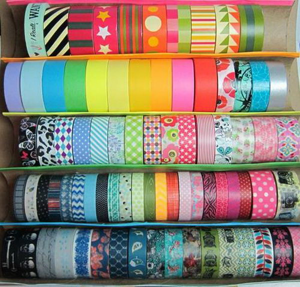22 Washi Tape Tray from Paper Towel Rolls