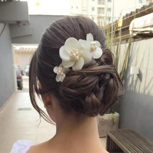 22 bridal bun updo with flowers