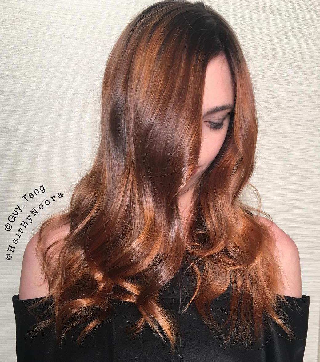 22 brown hair with golden blonde highlights