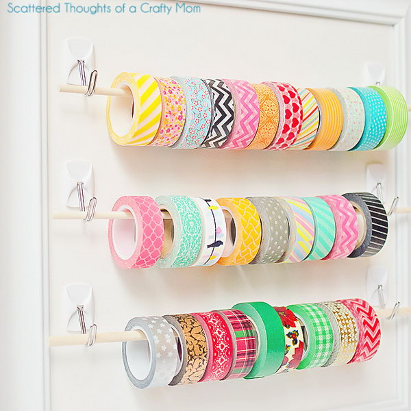 23 Easy Washi Tape Storage with Sticky Hooks and Wooden Dowels