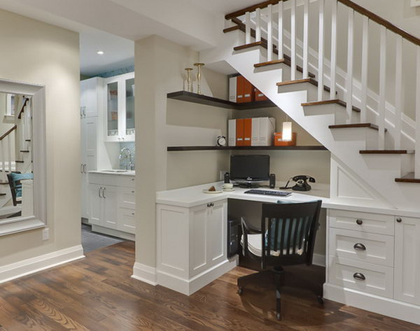 23 Under Stairs Home Office with Wall Shelves and a Built-in Desk