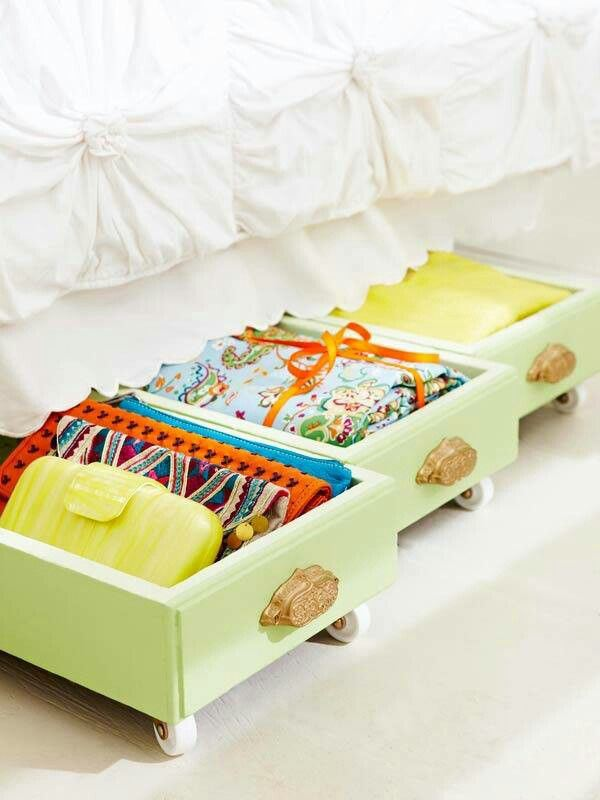 23 Upcycle old drawers by adding wheels on the bottom for underbed storage