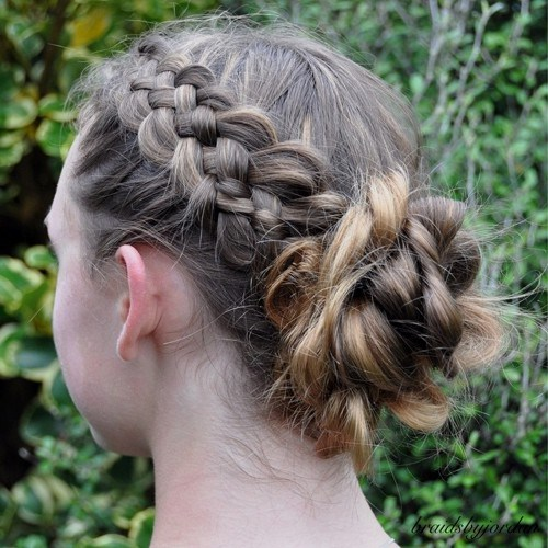 23 messy braid and bun updo for girls
