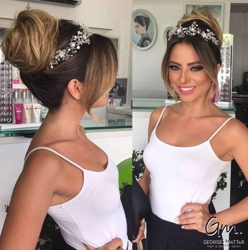 23 wedding bun with jeweled crown