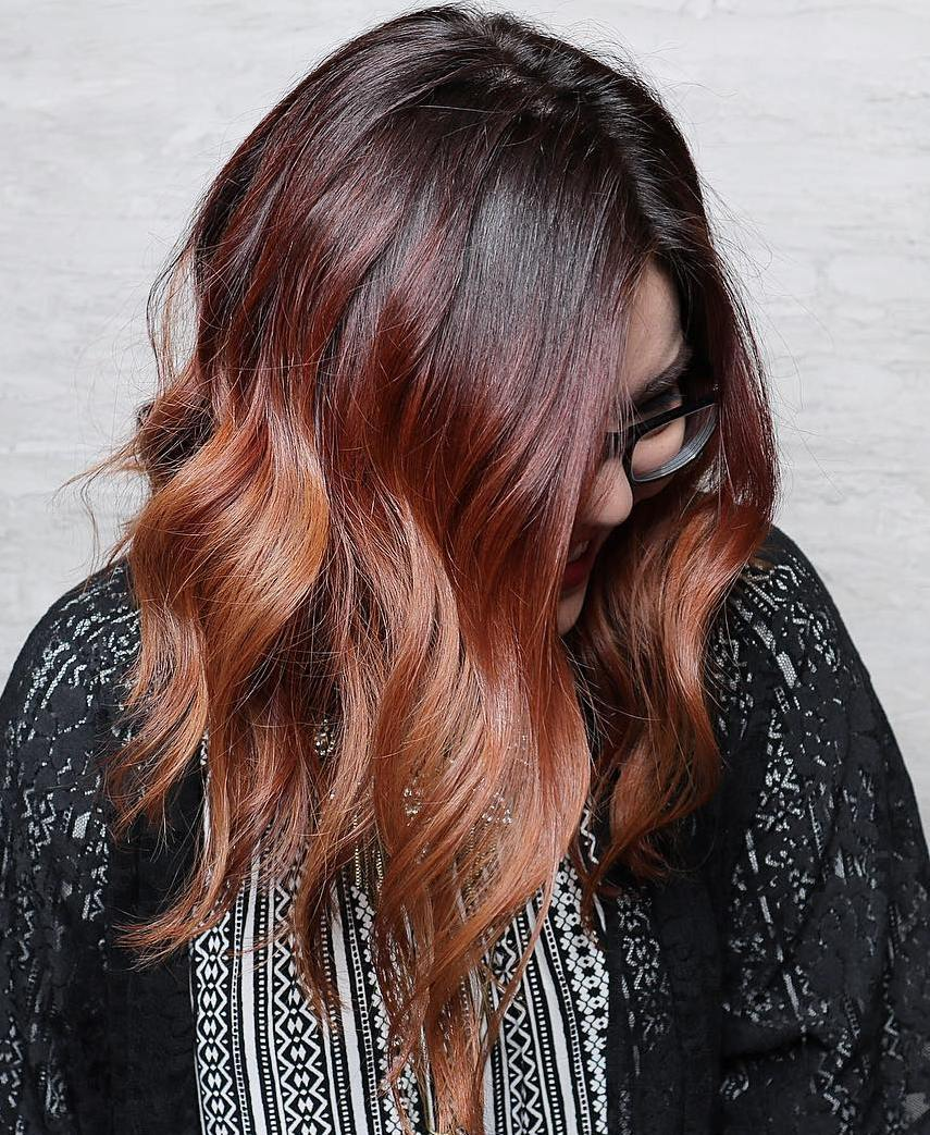 24 black burgundy and copper ombre