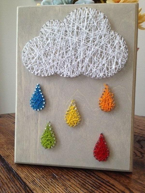 25 Rain Cloud Nail and String Art