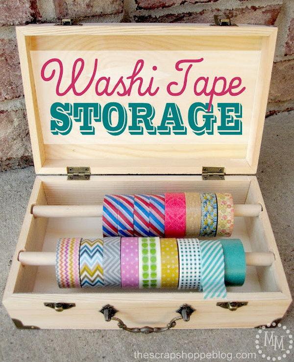 25 Wood Box Washi Tape Storage
