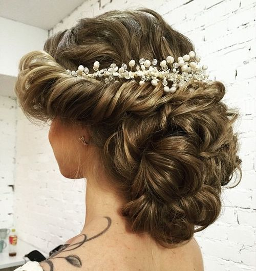 27 curly wedding updo without veil