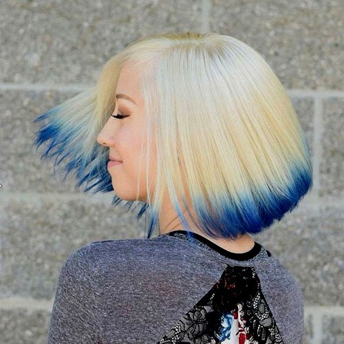 28 blonde bob with blue dip die