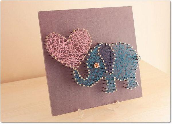 29 DIY String Art pretty Elephant