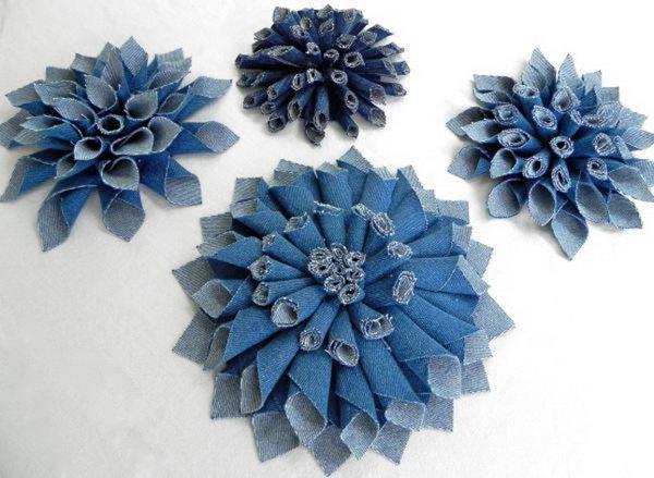 3 DIY Denim Fabric Flowers