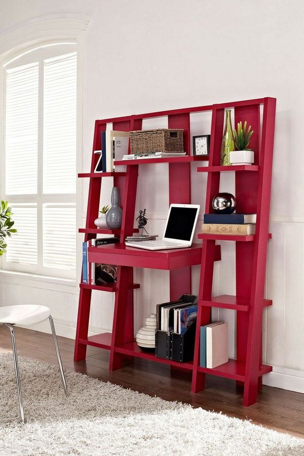 3 Red Ladder Bookcase with Desk