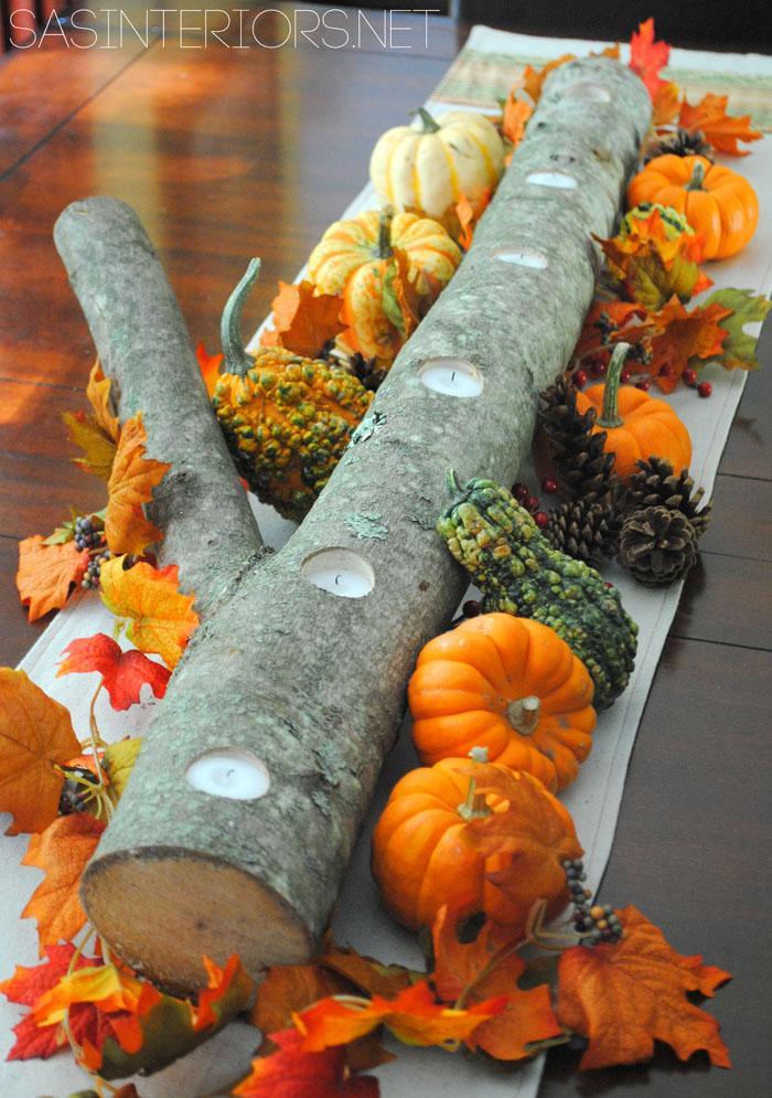 30 Pumpkins and Candles Centerpiece