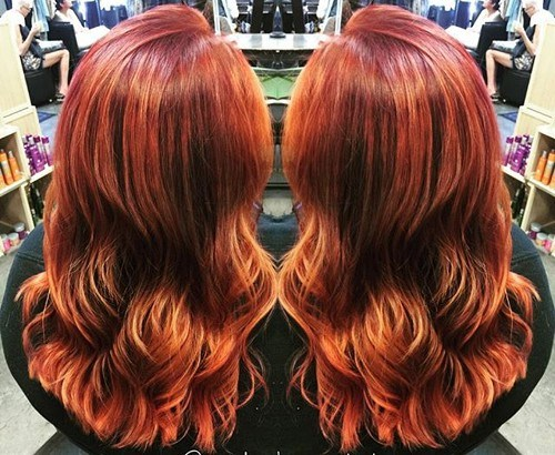 30 red layered hairstyle