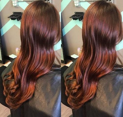 31 long reddish brown hair