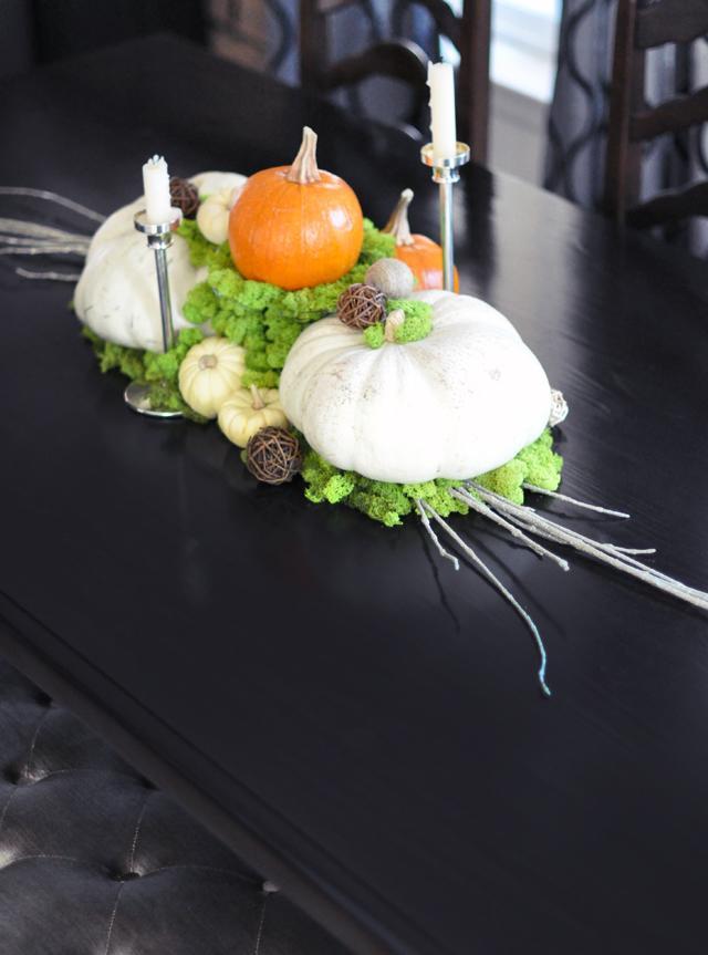 32 Pumpkin and Moss Centerpiece