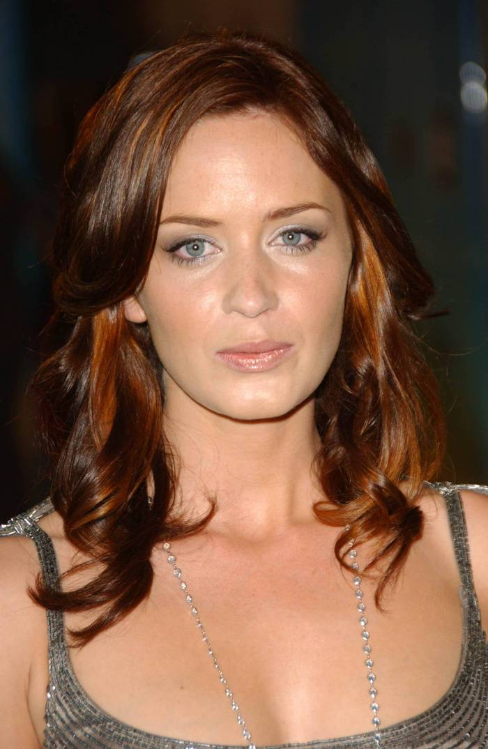 33 emily blunt's warm brown hair color with tangerine balayage highlights