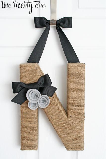 38 Jute Wrapped Monogram Wreath