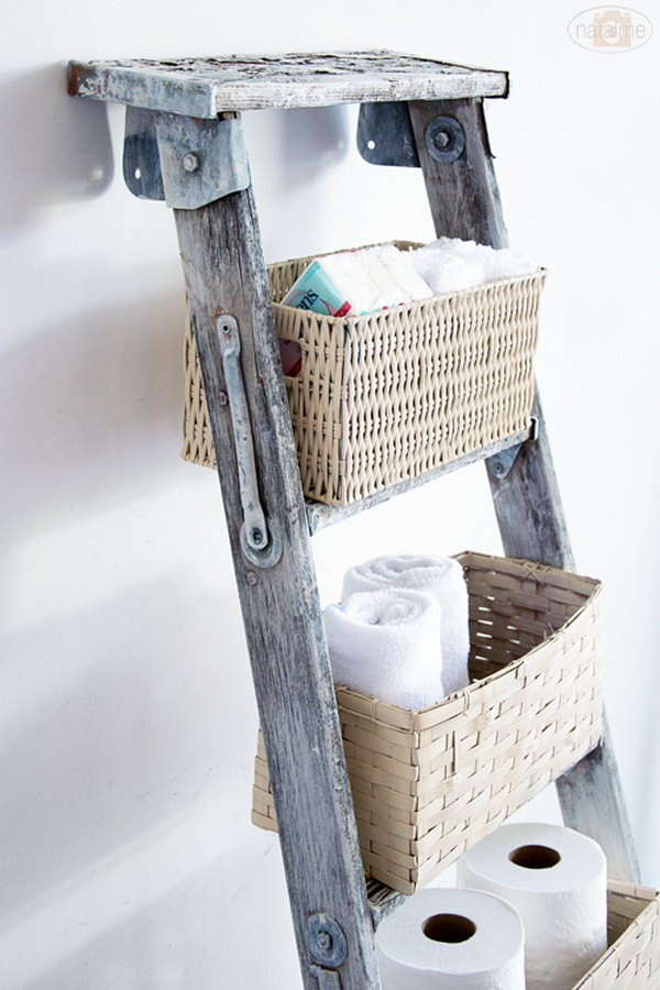 4 DIY Basket Ladder Storage