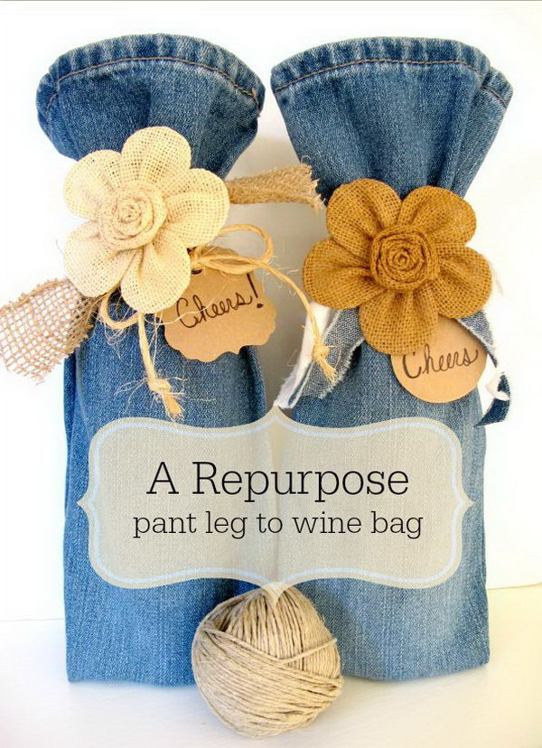 4 DIY Wine Bag from Old Jeans