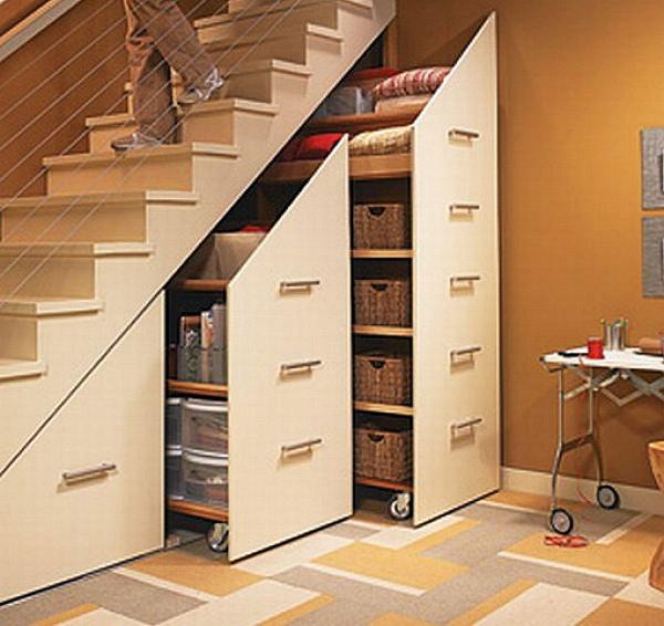 4 Under Stair Storage Rolling Cabinets
