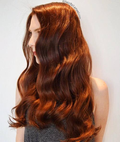 4 long red wavy hairstyle for thick hair